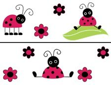 PINK LADYBUGS RED LADY BUGS FLOWER BABY GIRL NURSERY WALL BORDER STICKERS DECALS