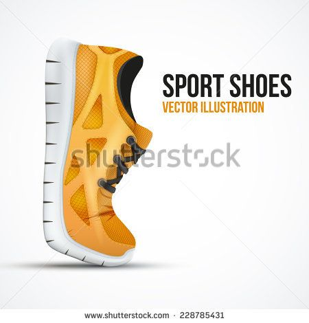 Running curved orange shoes. Bright Sport sneakers symbol. Vector illustration isolated on white background.