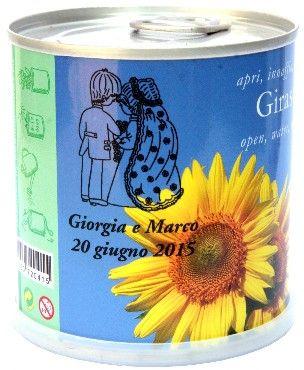 Bomboniere Matrimonio Naturali Personalizzate Girasole Macflowers Fiori in Lattina