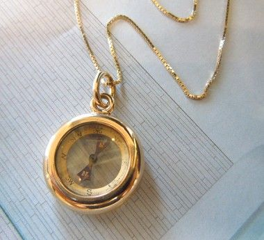 14kt Gold Compass Necklace Jewelry Pinterest