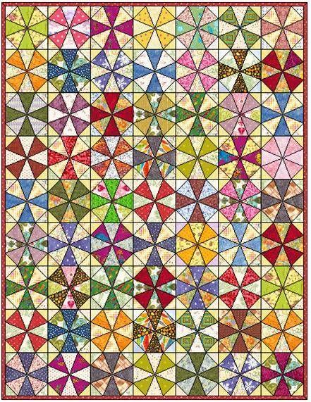 Kaleidoscope Quilt Block | FaveQuilts.com                              …                                                                                                                                                     More