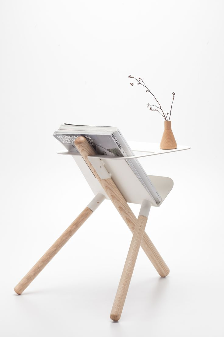 wooden magazine rack with table top