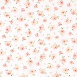 Twill hvit m rosa roser