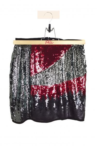 Jupe sequins rouge