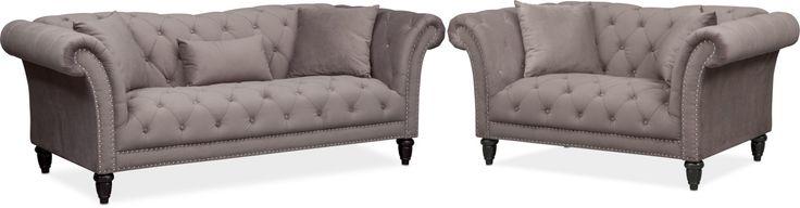 Marisol Sofa And Loveseat Set - Granite