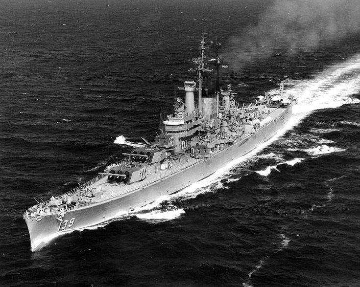 """USS Salem (CA-139). Second of the three Des Moines class heavy cruisers to be completed (12 planned). These were the last, best, and most powerful heavy cruisers built by any power. Fine seaboats, good gun power, armor and speed. 20,980 tons, 3x3 8""""/55 cal guns, 6 x 2 5""""/38 cal. guns, 12 x 2 3""""/50 cal. guns. Speed 31.5 kts. Commissioned 1949, Decommissioned 1959, preserved, Quincy MA. Salem is shown underway in the Mediterranean on 16 June 1952, during her long term as 6th Fleet flagship."""