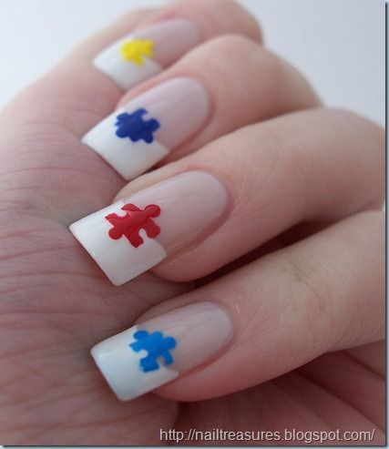 92 best autism awareness nail art images on pinterest stickers nail treasures autism awareness puzzle pieces french tips prinsesfo Image collections