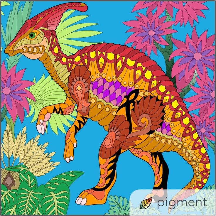 Love How ShahrulHalimS Colored This Page From Our Tangled Dinosaurs Coloring Book Have You Tried The Pigment App Yet Its Best Adult