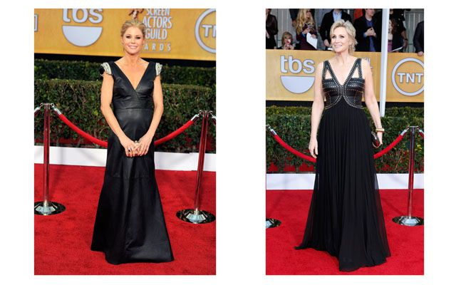 Julie Bowen (left) and Jane Lynch at the 2013 SAG Awards    [I'm a little shocked by Ms. Lynch's choice. ~KP~]