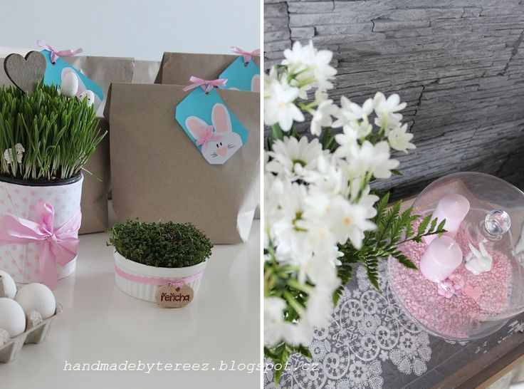 Watercress, spring, Easter, delicate pink, egg, bags for visitors, white flowers ...