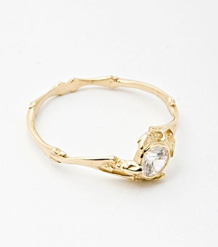 Twig Ring with .33 carat Brilliant Diamond and 14k yellow gold.