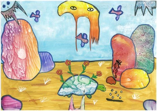 http://www.nms-pinggau.at/index.php/schuelerinnenarbeiten/bildnerische-erziehung/be-2-klasse?start=14-Fantastische Welten - Surrealismus Deckfarbenmalerei auf A3, Decalcomanie, Collage