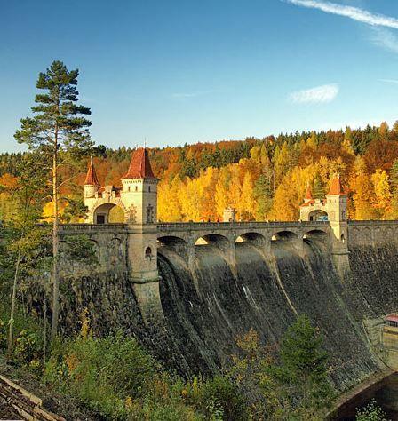 """Les Královstvi"" (The Forest of Kingdoms) dam in romantic style (East Bohemia), Czechia"