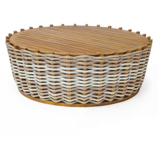 hines modern rope wrapped teak outdoor coffee table 1758 liked on polyvore featuring