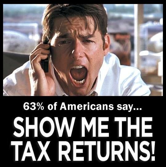 Show us the tax returns Donald! Meet the same standard every single other major presidential candidate has for the last 40 years. The IRS says there's nothing stopping him from releasing, Nixon released while under audit, Trump released while under audit to get casino licenses and the only reason I can think of that his tax attorneys wouldn't want him to release is because they're worried tax experts in the population would find something that the IRS might miss. I don't think it's that…