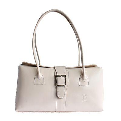 Buckle Lock Cream Leather Shoulder Bag - £59.99