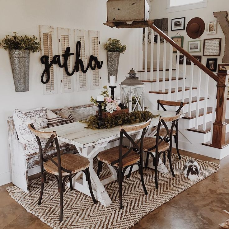 "Rustic dining room inspiration with a ""gatha"" sign"