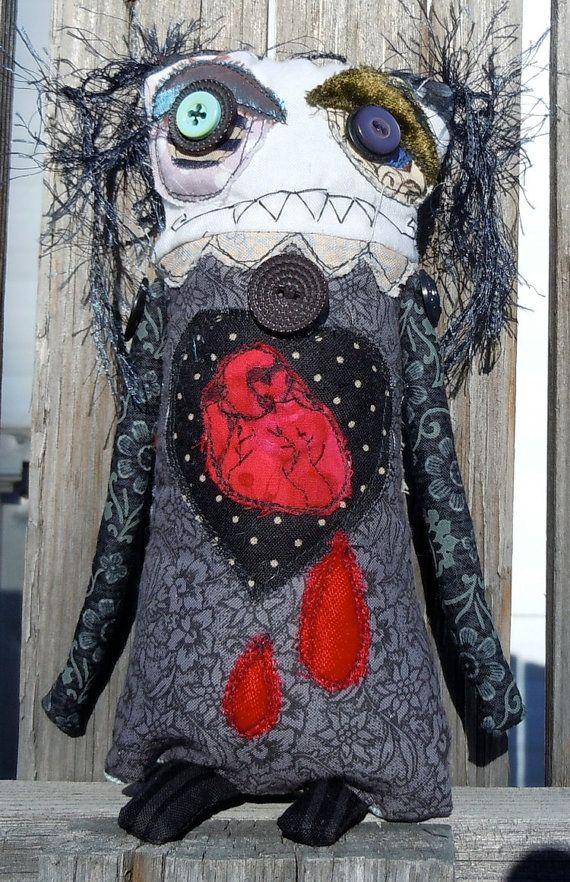 Deborah the Bleeding heart  Goth handmade zombie by monstermaud, $26.00