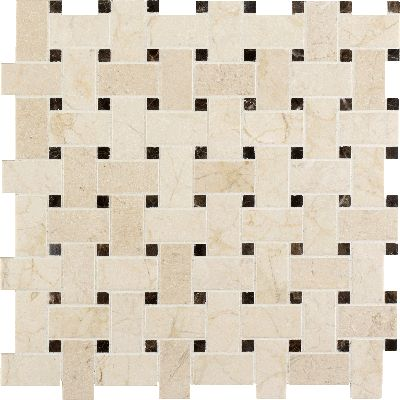 Crema Marfil Honed With Emperador Dark Dot Mesh Basket Weave Mosaic Tile Via Arizonatile