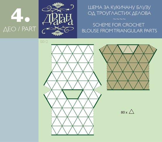 Величина троугла одредиће и величину блузе. Мерите, пробајте, истражујте. Срећно кукичање! ~~~~ Triangle sizes will determine the size of blouse. Measure, try, explore. Happy crocheting!