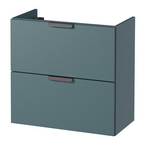IKEA - GODMORGON, Kast voor wastafel met 2 lades, grijsturkoois, 60x30x58 cm.