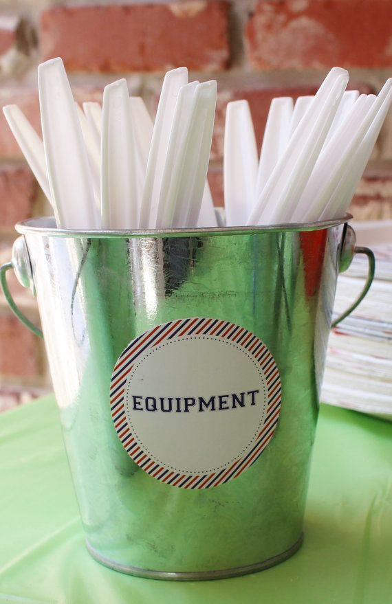 """Baseball birthday party decor; """"Equipment"""" stickers for silverware at a sports birthday party"""
