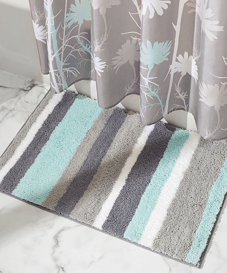 Another great find on #zulily! Mint & Gray Stripz Rug by InterDesign #zulilyfinds