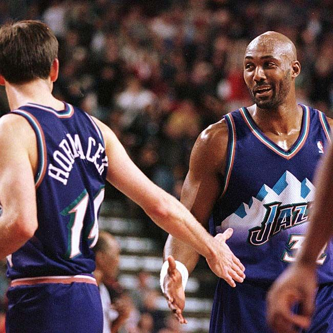 Utah Jazz - Jeff Hornacek and Karl Malone