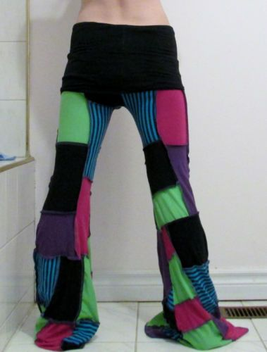 Patchwork Pants DIY Yoga Pixie Hippie Hooping Clothes Handmade Pink Purple Green
