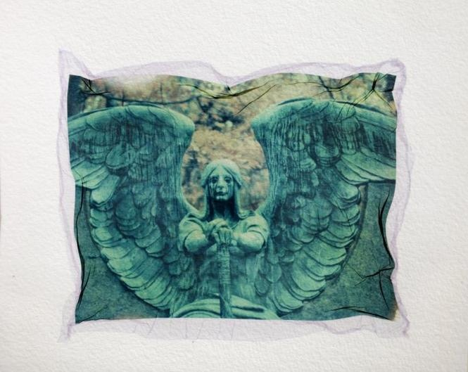 "This is a Polaroid emulsion transfer of a statue of an angel labeled ""Haserot"" in Lakeview Cemetery. A Polaroid emulsion transfer is a process of lifting the delicate emulsion off of exposed Polaroid film and transferring it on to another surface (in this case, watercolor paper)"