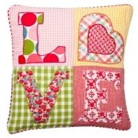 love patchwork cushion