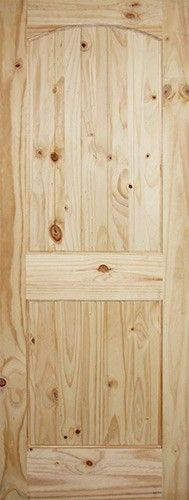 "6'8"" 2-Panel Arch V-Groove Knotty Pine Interior Wood Door Slab. Great rustic look."