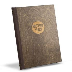 Protège-menus Andorre.  Carte de Restaurant en bois élégant. Gravure de le logo du Restaurant ou Café.