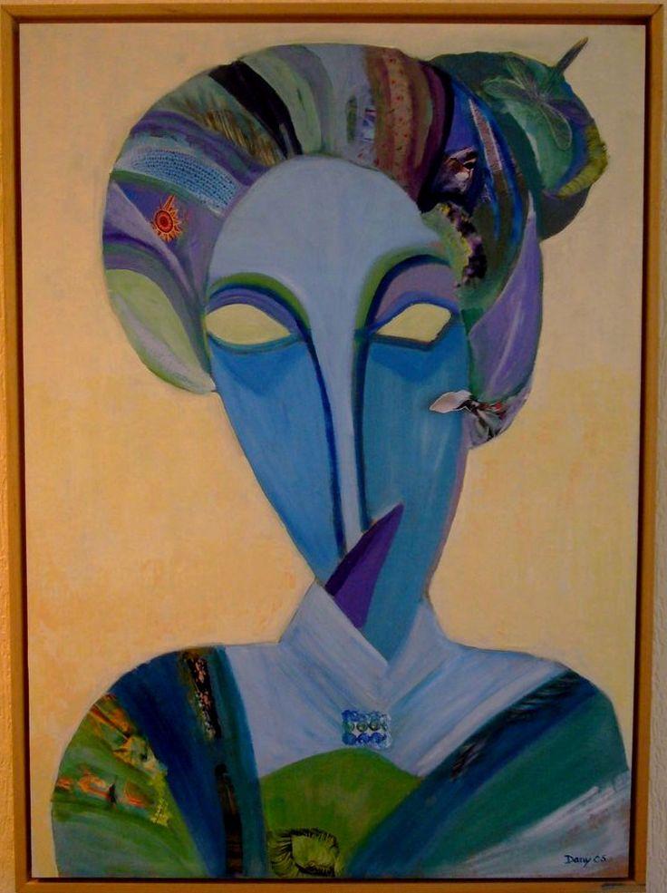 Een voorstudie van Picasso  voor « Les Demoiselles d'Avignon » inspireerde mij in 2006 bij het maken van dit schilderij. Ik heb de stuctuur van zijn geschetste vrouwgezicht min of meer overgenomen maar ben dan overgegaan tot driehoekige vormen en zo ontstond een dame met een strenge en ontevreden  uitdrukking op het gezicht. Een gezicht in de vorm van een masker , want de ogen zijn leeg, zoals op de schets  van Picasso.