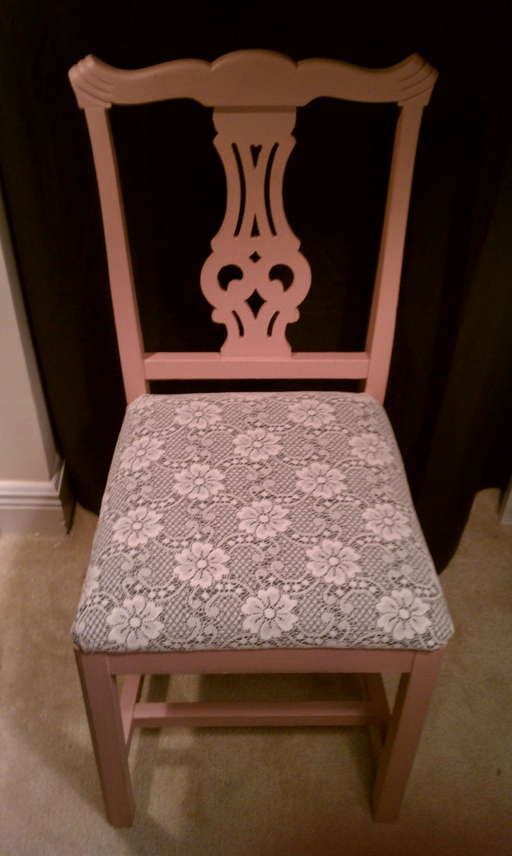 chair was free, seat cushion fabric from a thrift store and left over paint = a very inexpensive chair. (like $3.50 cheap)