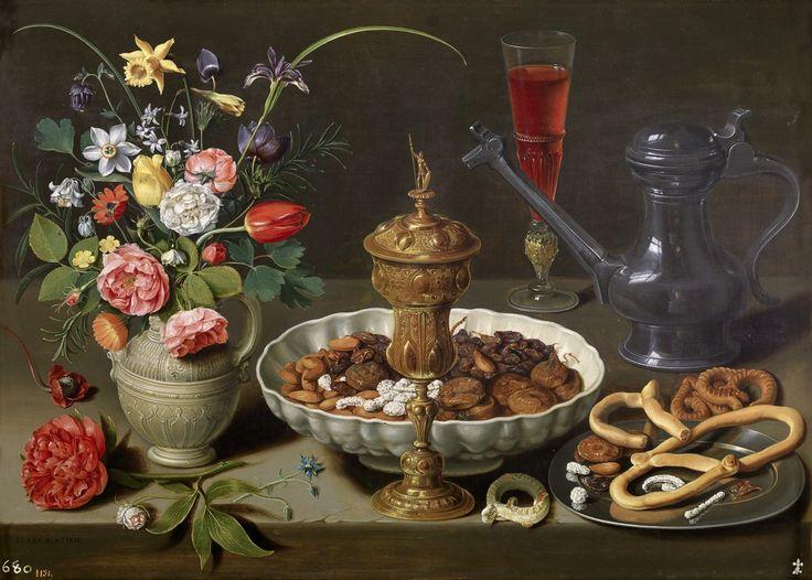 Clara Peeters: stilleven met bloemen en lekkernijen. 1611. Museo Nacional del Prado, Madrid. Kleurrijke bloemen en een maaltijd in gedempte kleuren. Het fluitglas met helderrode wijn zorgt voor kleur in de rechterhelft en houdt het geheel in balans. De zelfportretten van Peeters zijn te zien op de glanzende tinnen wijnkan. Het boeket is zorgvuldig gecomponeerd. De bloemen bloeien in werkelijkheid niet in dezelfde periode. Slow Food: stillevens uit de Gouden Eeuw, Mauritshuis.