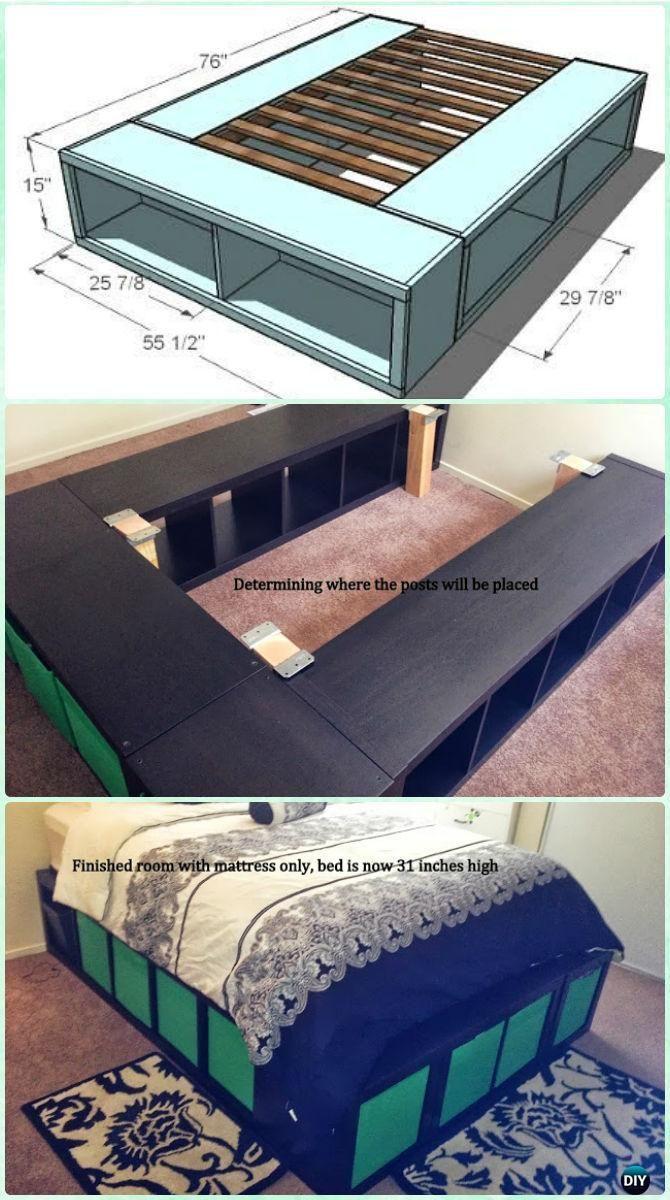Diy Space Saving Bed Frame Design Free Plans Instructions Diy Expedit S Bedframe Beforeandafter Befor Bed Frame Design Space Saving Beds Diy Storage Bed