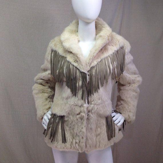 años 70 abrigo de piel con flecos / chaqueta de piel de conejo blanco con gris gamuza ajuste del medio de las mujeres
