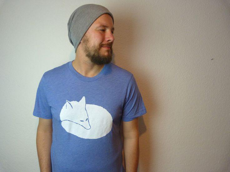 T-Shirt mit Fuchs. Handgemachter Siebdruck.