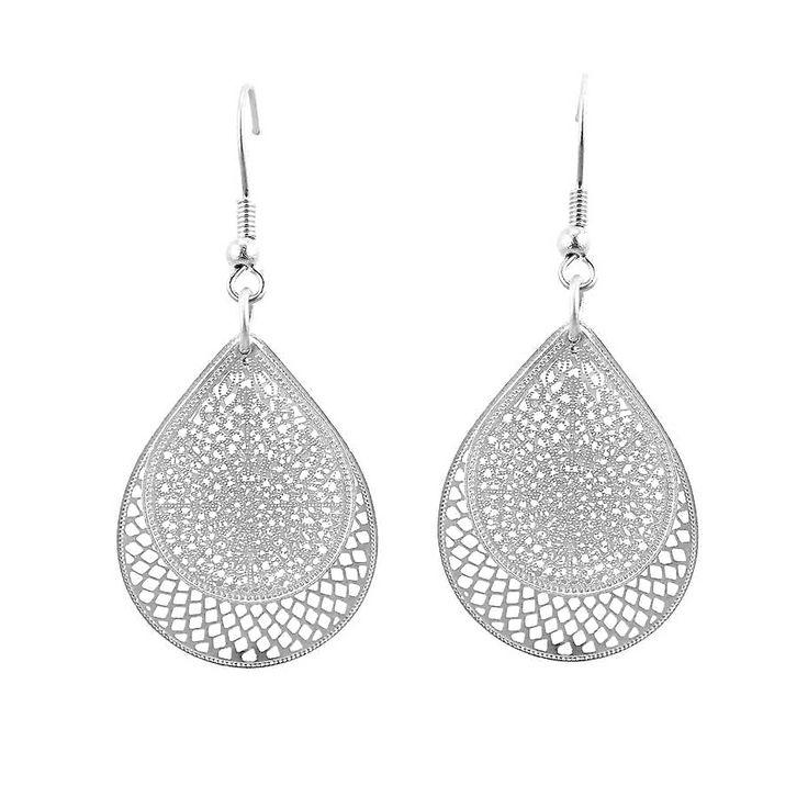 Silver tear drop web earring - hardtofind.