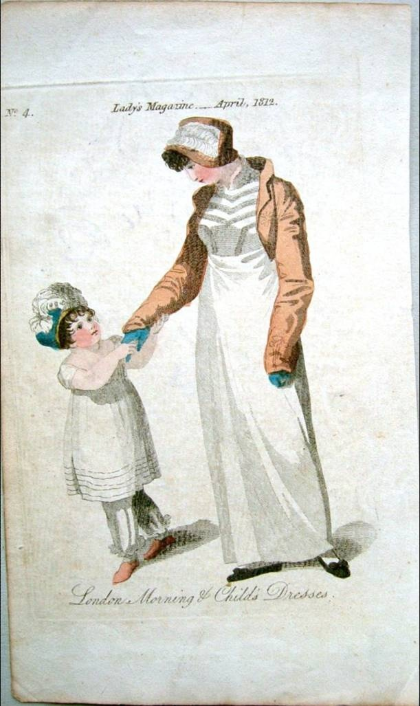 White dress, pantalettes and a cap for this child. Lady's Magazine 1812