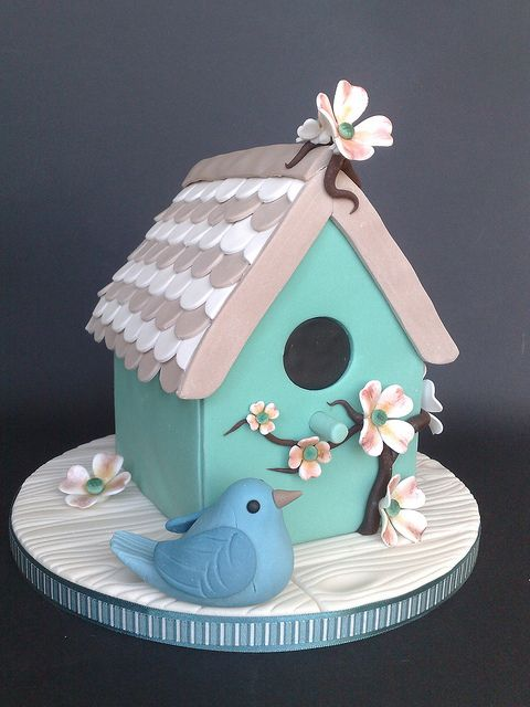 Shabby Chic Bird House Cake...i love bird houses and cute little birds :)