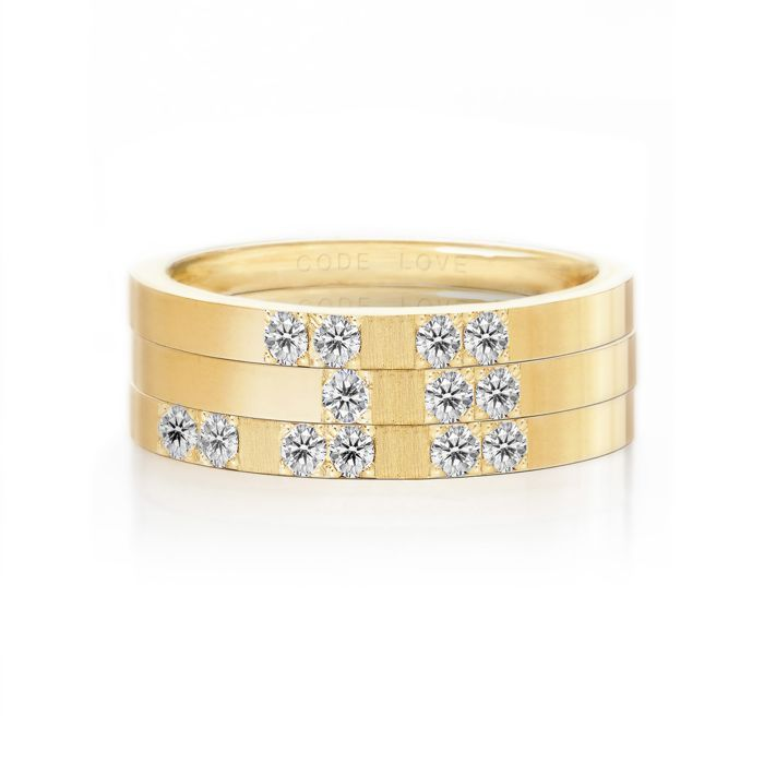 CODE LOVE 'MUM' Morse Code Union Ring - These unique and beautiful Union Rings have been designed to stack. There are 26 rings in the collection each representing a letter of the English alphabet. Designed using brilliant cut diamonds set in either rose, yellow or white gold you can create whatever your heart desires! www.codelove.com.au