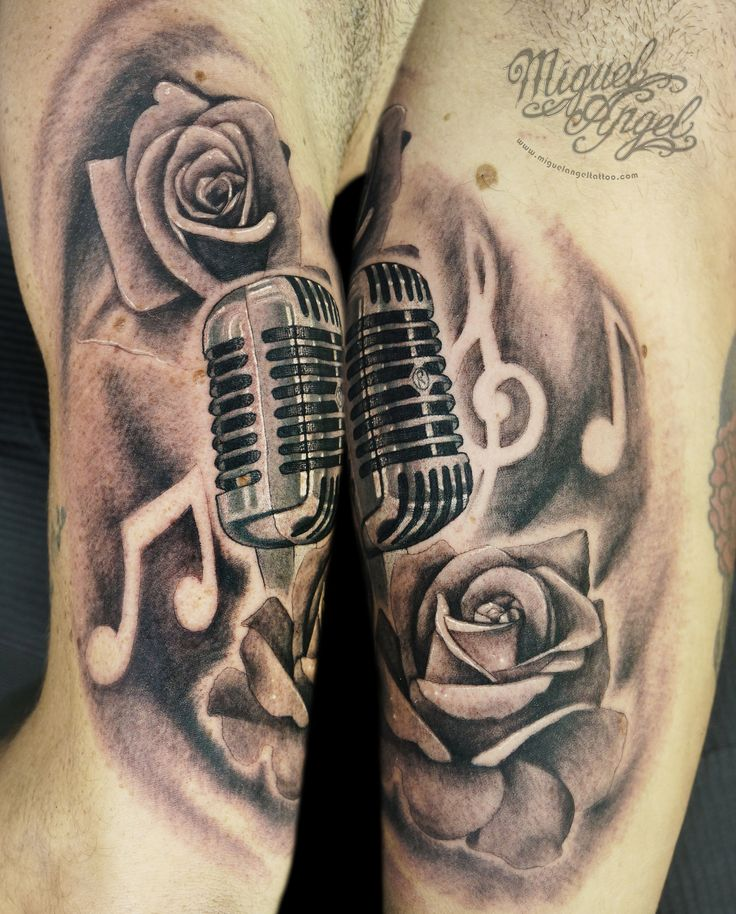 Vintage microphone music notes and roses custom tattoo miguel angel london united kingdom - Mobeltattoo vintage ...