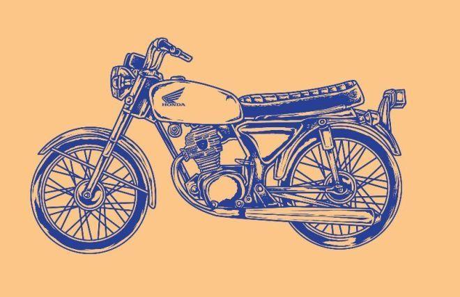Free Honda Cb100 Glatik Vintage Motorcycle Vector Illustration Titanui Web Graphic Design Graphic Design Resources Graphic Design Projects