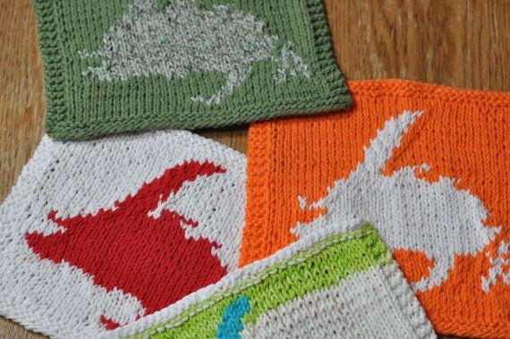Hand knit Dish cloths with Newfoundland Map Cloths ...