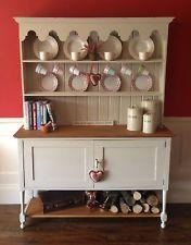 Vintage English Oak Edwardian Farmhouse Kitchen Dresser Pot Shelf F Cream