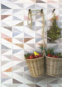 Faience murale colorée patinée triangles pastels 10x20cm - 1.36m²