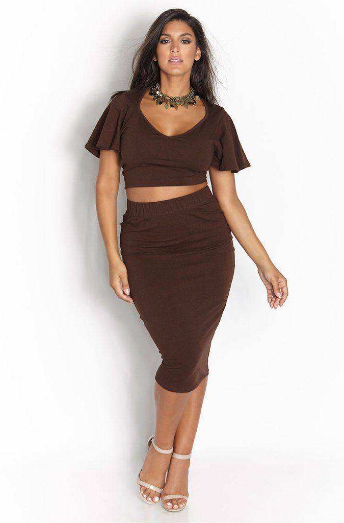 "Rebdolls ""Bet on Me"" Flutter Sleeves Midi Set - Brown"