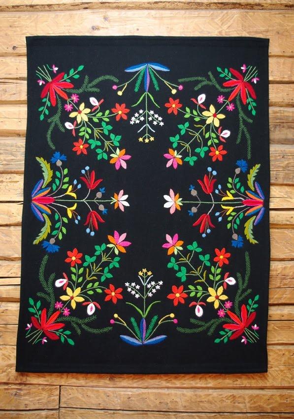 muhu island embroidered blanket = Estonian